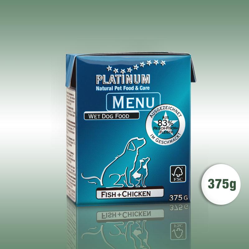 PLATINUM MENU Fish+Chicken / Hal+Csirke teljesértékű nedvetáp / konzerv kutyák számára