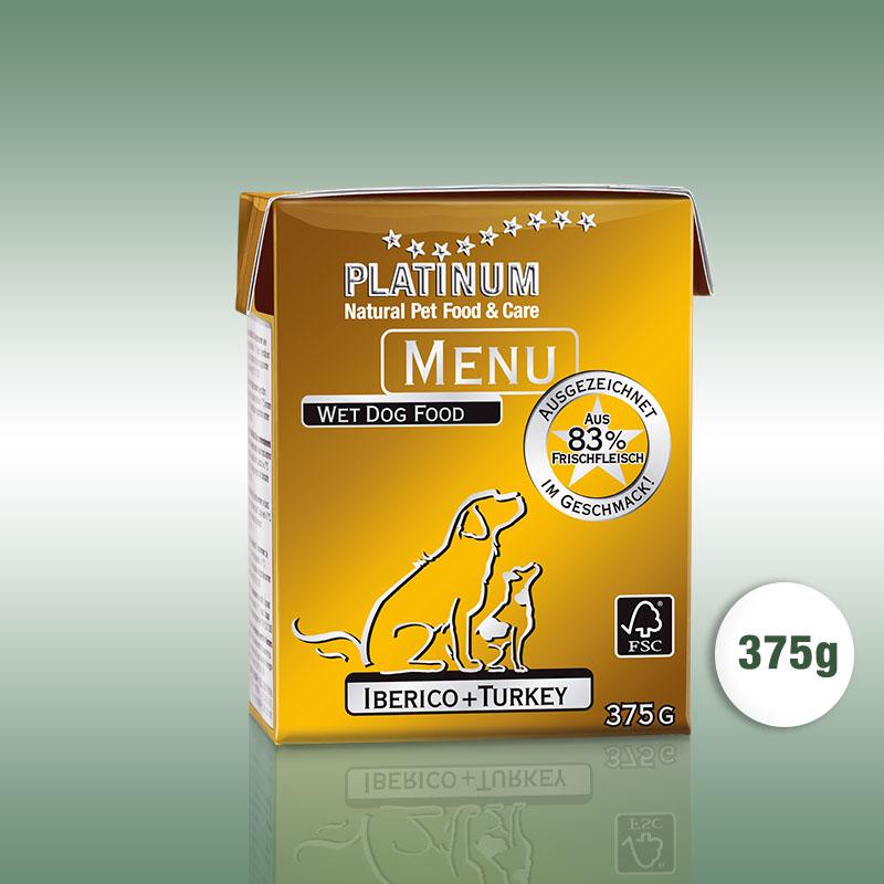 PLATINUM MENU Iberico+Turkey / Ibériai sertés+Lazac teljesértékű nedvetáp / konzerv kutyák számára