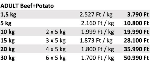 PLATINUM Adult Beef+Potato árak
