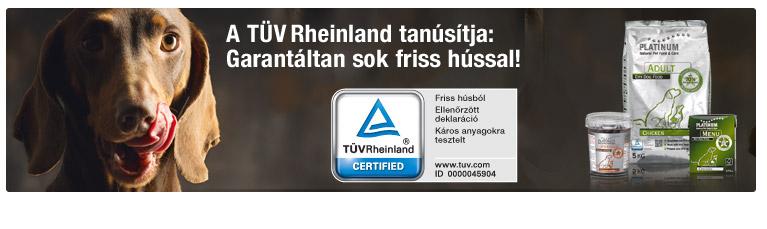 A TÜV Rheinland tanúsítványa is garantálja a sok friss húst kutyatápunkban.