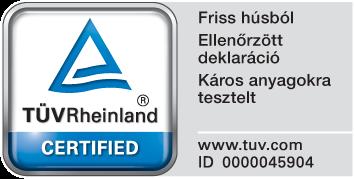 TÜV Rheinland mindőségbiztosítás tanúsítvány PLATINUM kutyatápra
