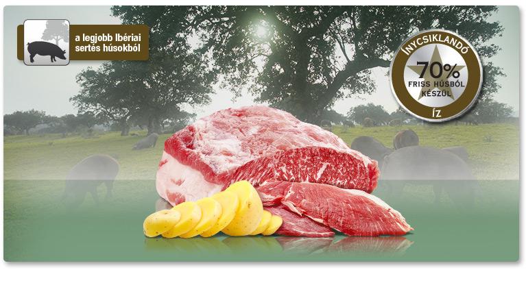 PLATINUM Iberico+Greens - Ibériai sertés+Zöldségek felnőtt száraztáp. A legjobb ibériai sertéshúsokból.